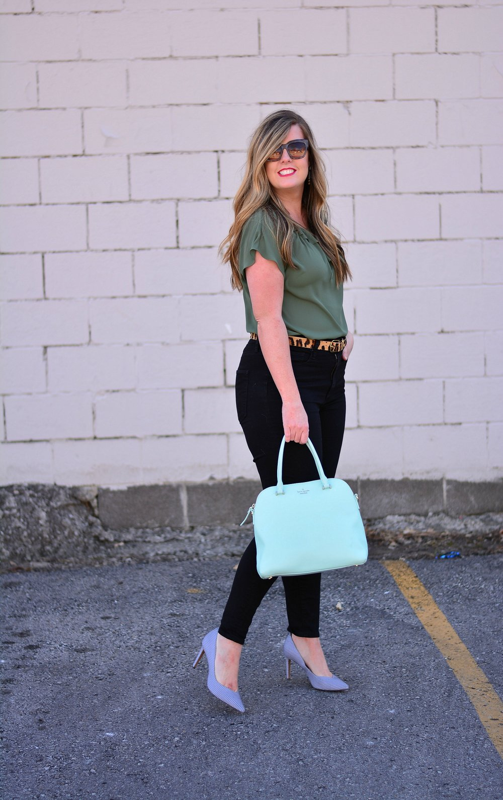 Olive silk top with black jeans