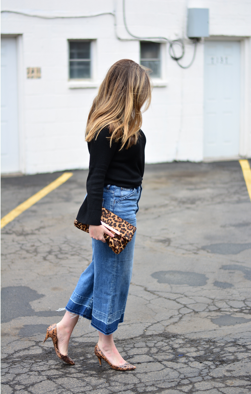 Black turtleneck with cropped wide leg jeans