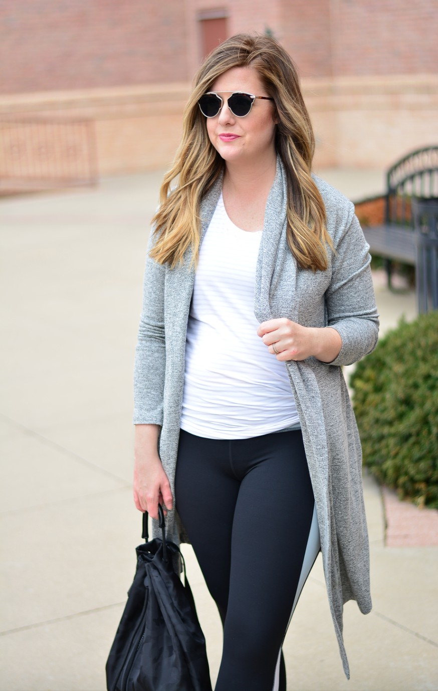 Athleta long cardigan and color block workout look