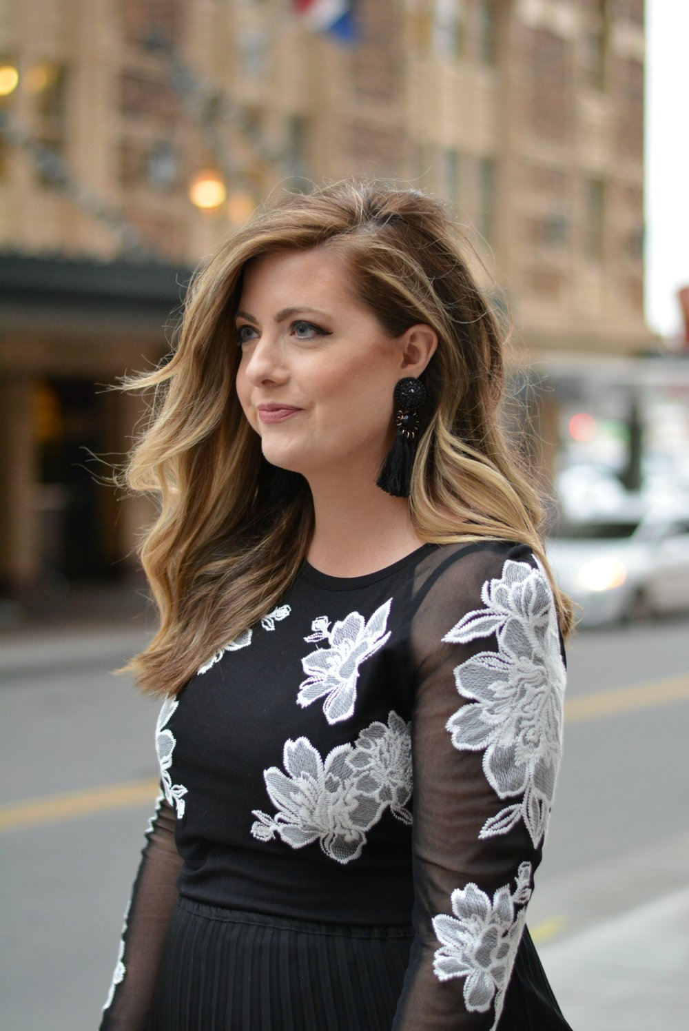 Tassel earrings and Black and white outfit