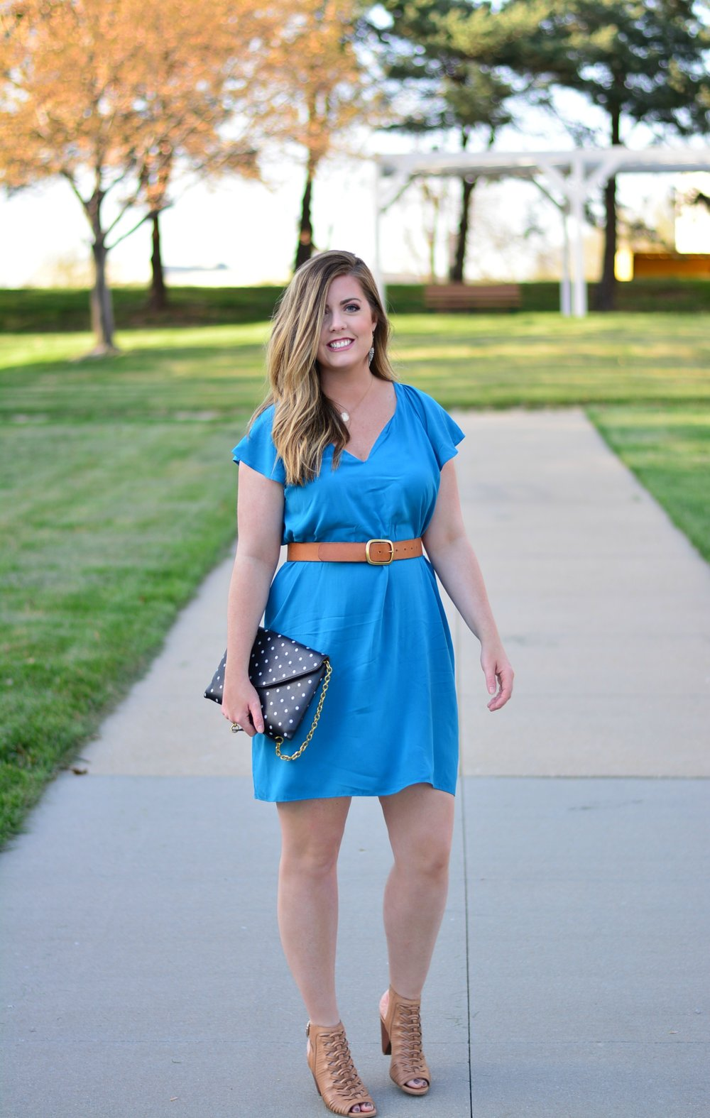 Flutter-Sleeve Shift Dress for spring