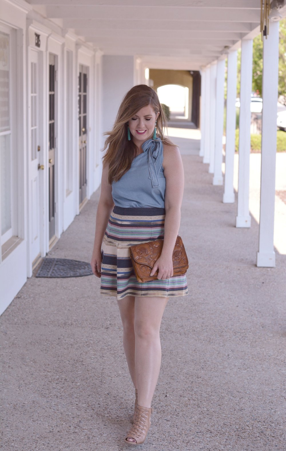 One shoulder chambray top and printed skirt