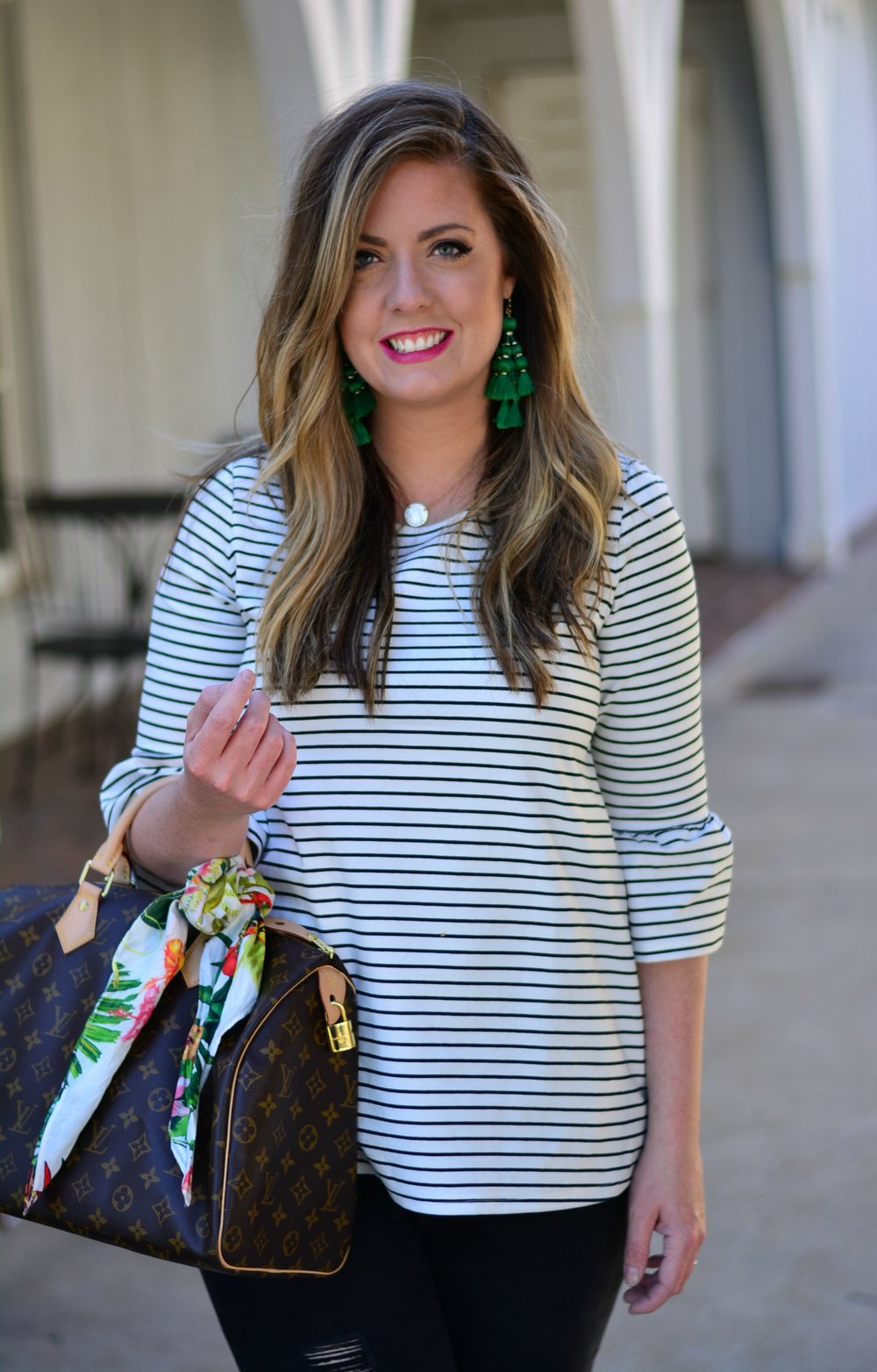 Stripe bell sleeve top and Kate Spade tassel earrings