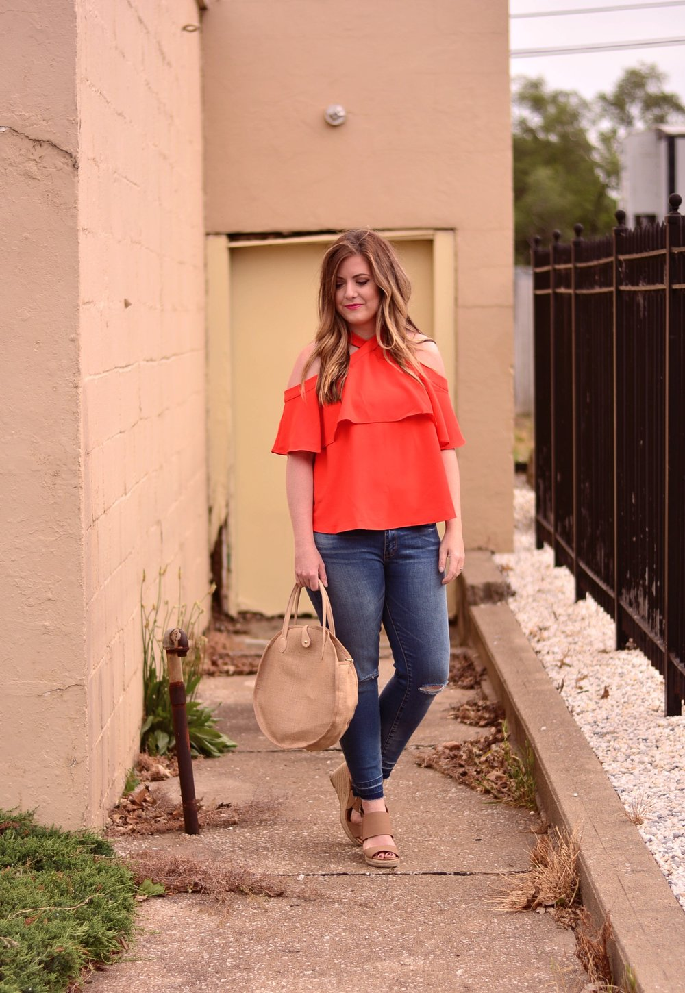 Red cold shoulder top outfit for summer