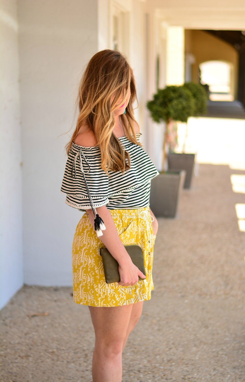 Stripe off the shoulder top with printed shorts