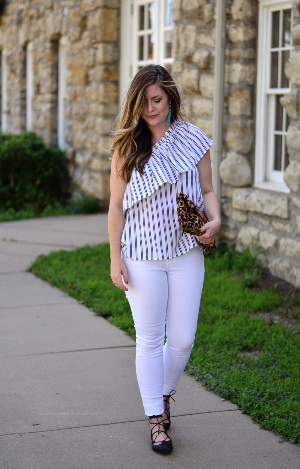 Black and White stripe one shoulder top