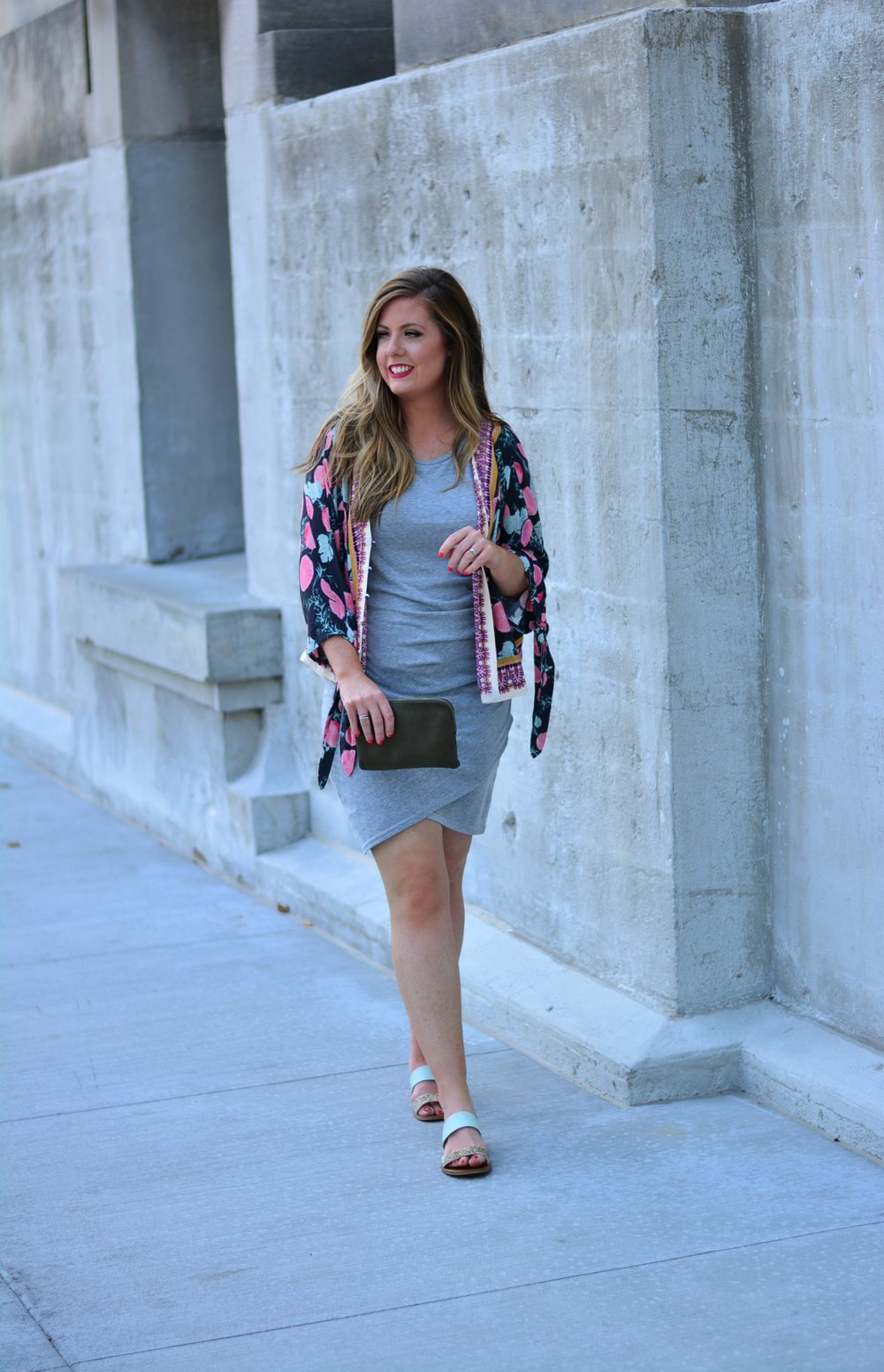Ruched Dress with Free People cardigan