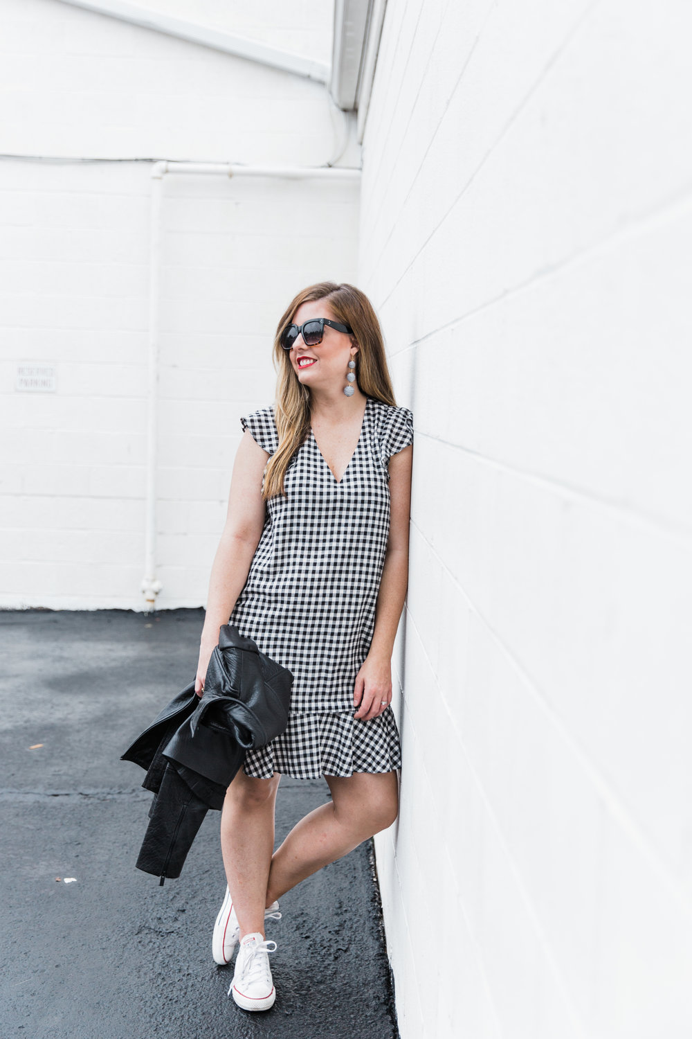 gingham ruffle dress