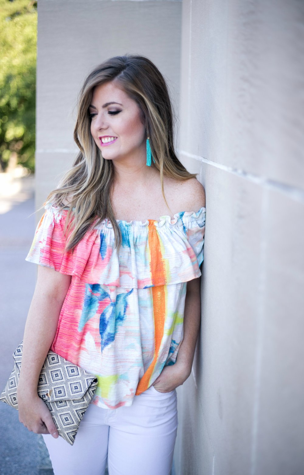 Colorful off the shoulder top