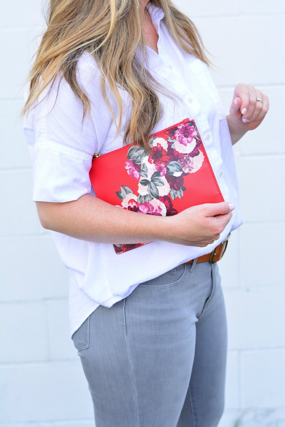 Floral banana clutch