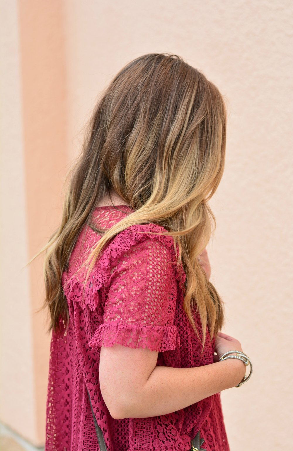 Cranberry lace top - casual outfit