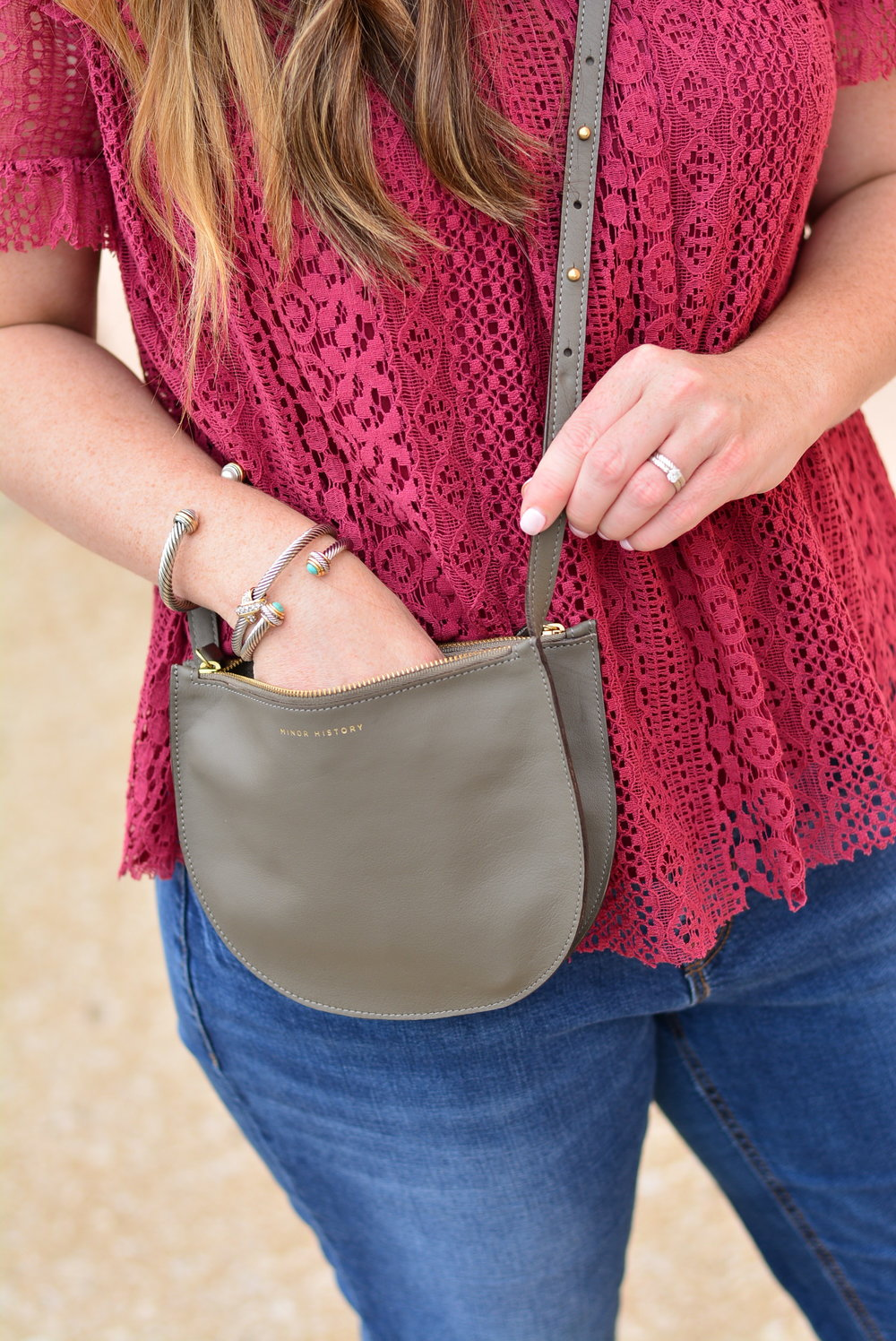 Gray crossbody purse - Minor History Smile