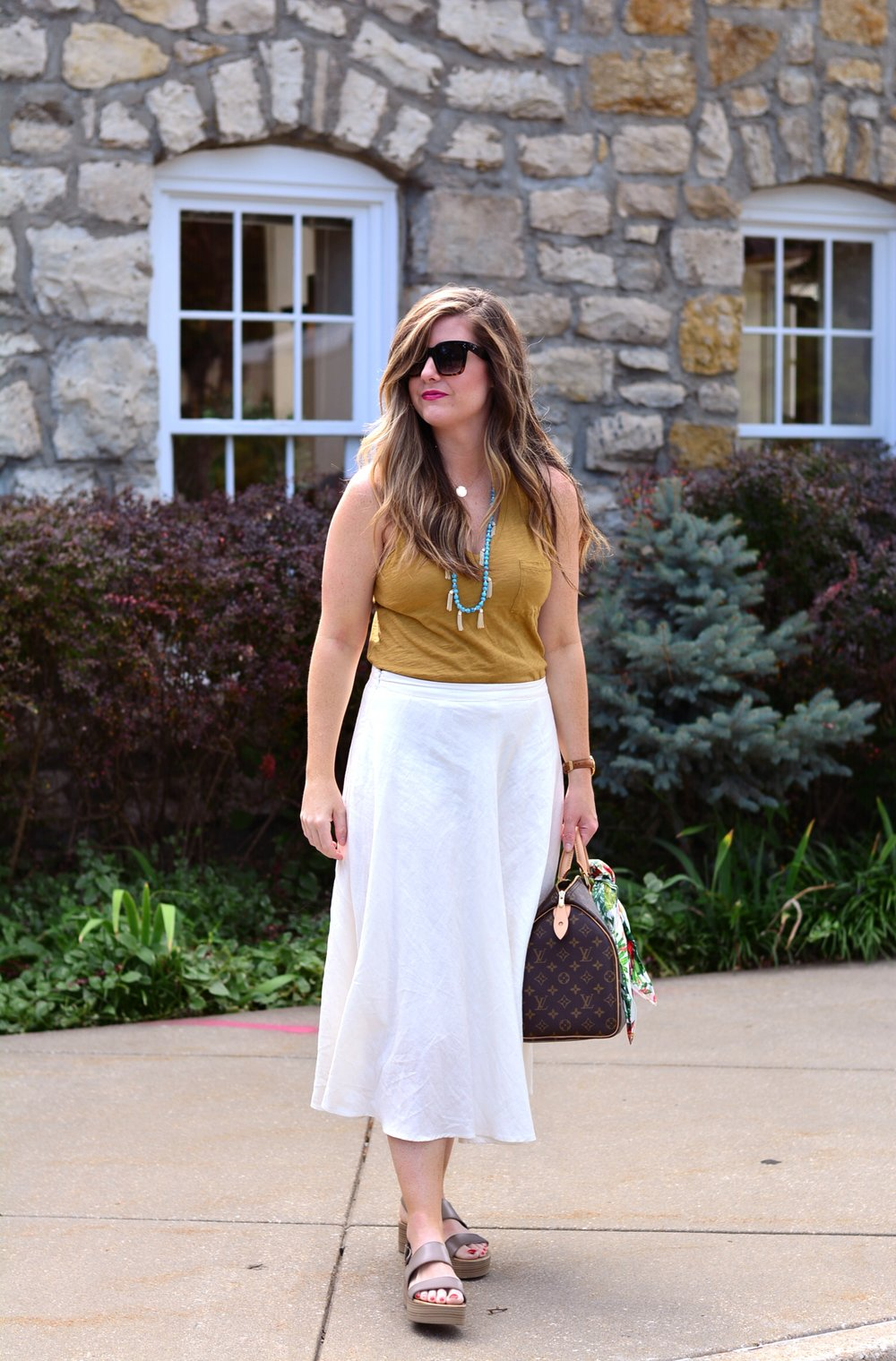 Mustard tank with cream skirt