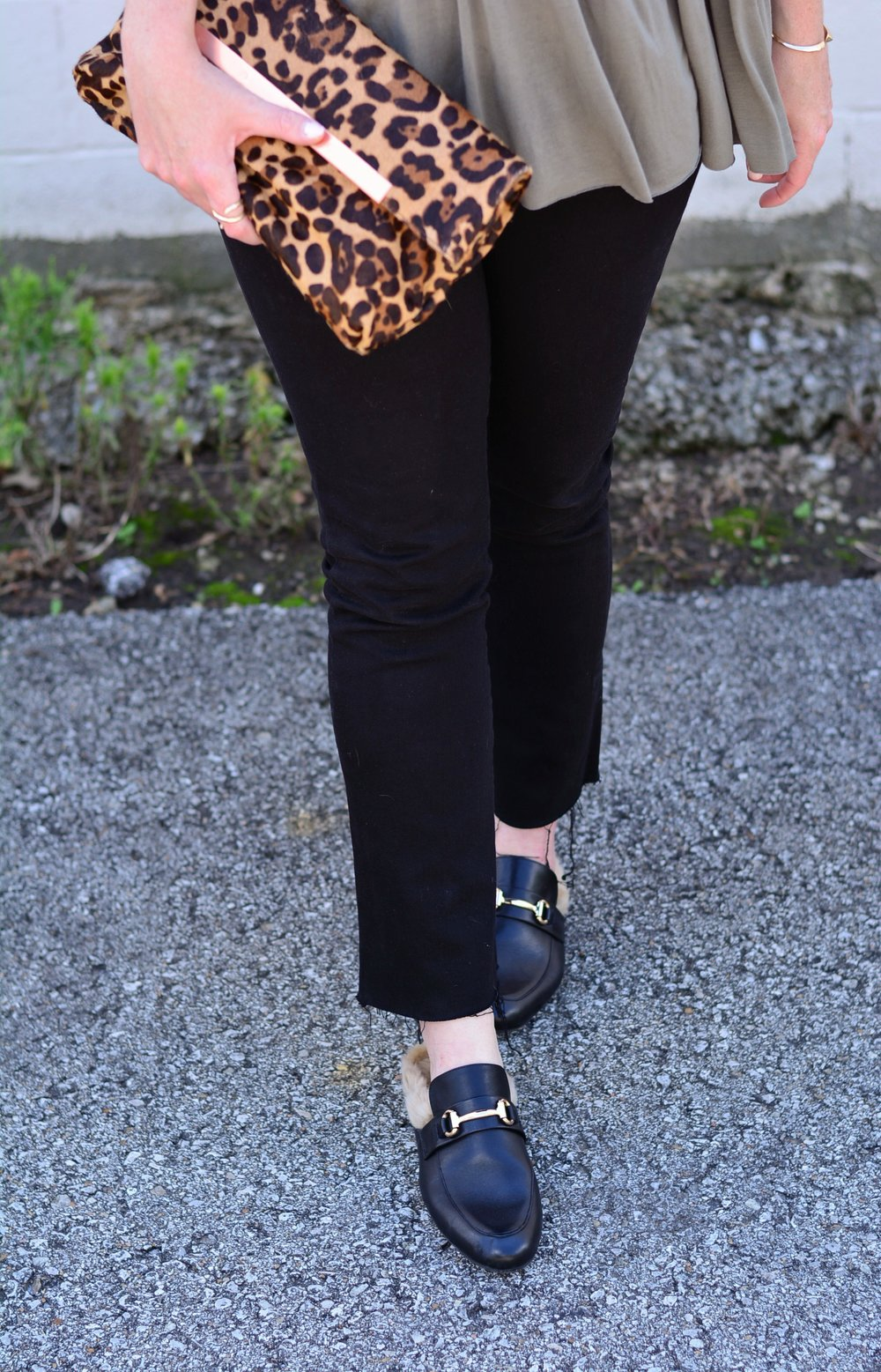 Black cropped jeans and leather mules