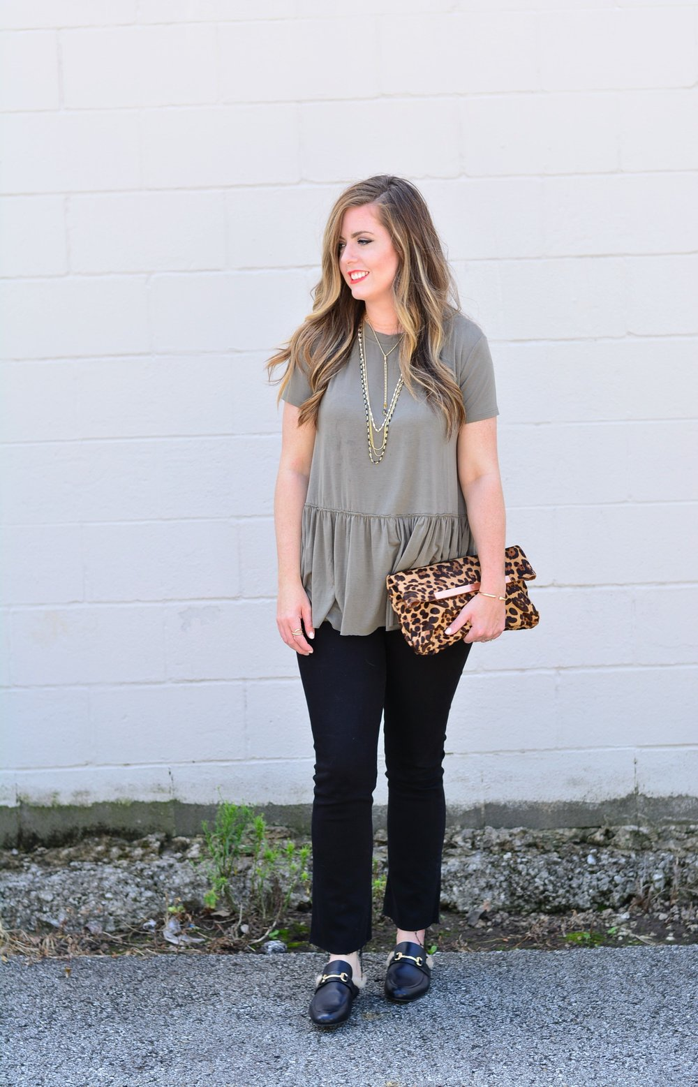 Olive green tee with black jeans for fall
