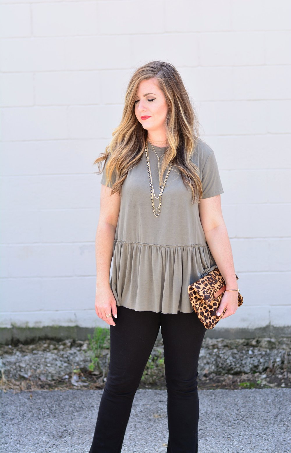 Olive drop waist tops with black jeans