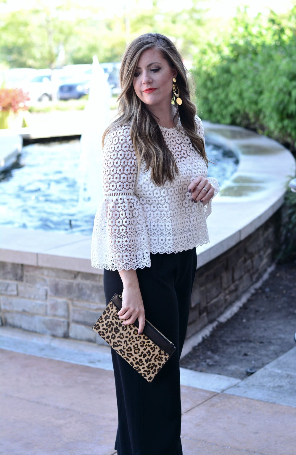 J.Crew eyelet top with wide leg crop pant