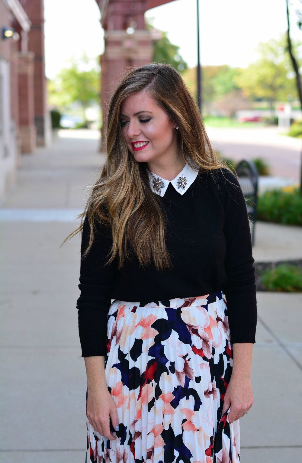 embellished collar sweater and printed skirt for fall