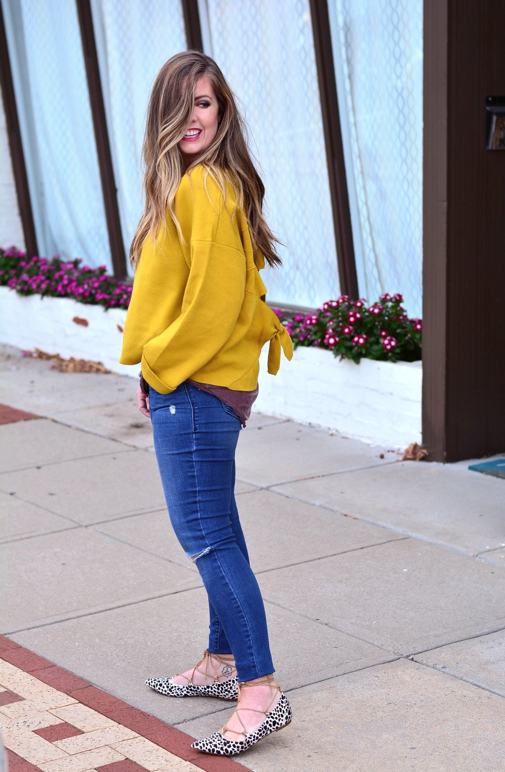 Mustard sweater casual outfit