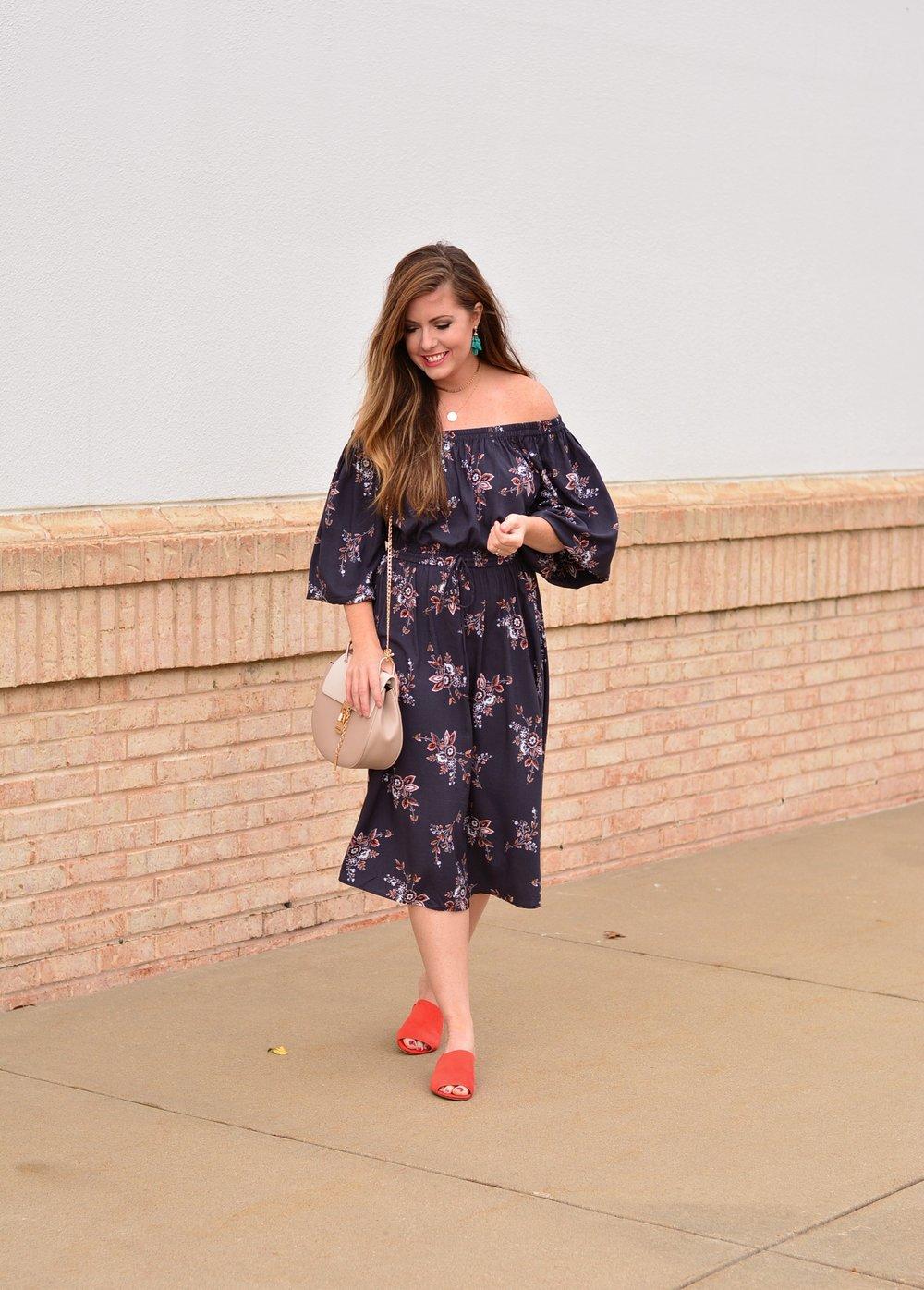 Off the shoulder floral dress for fall