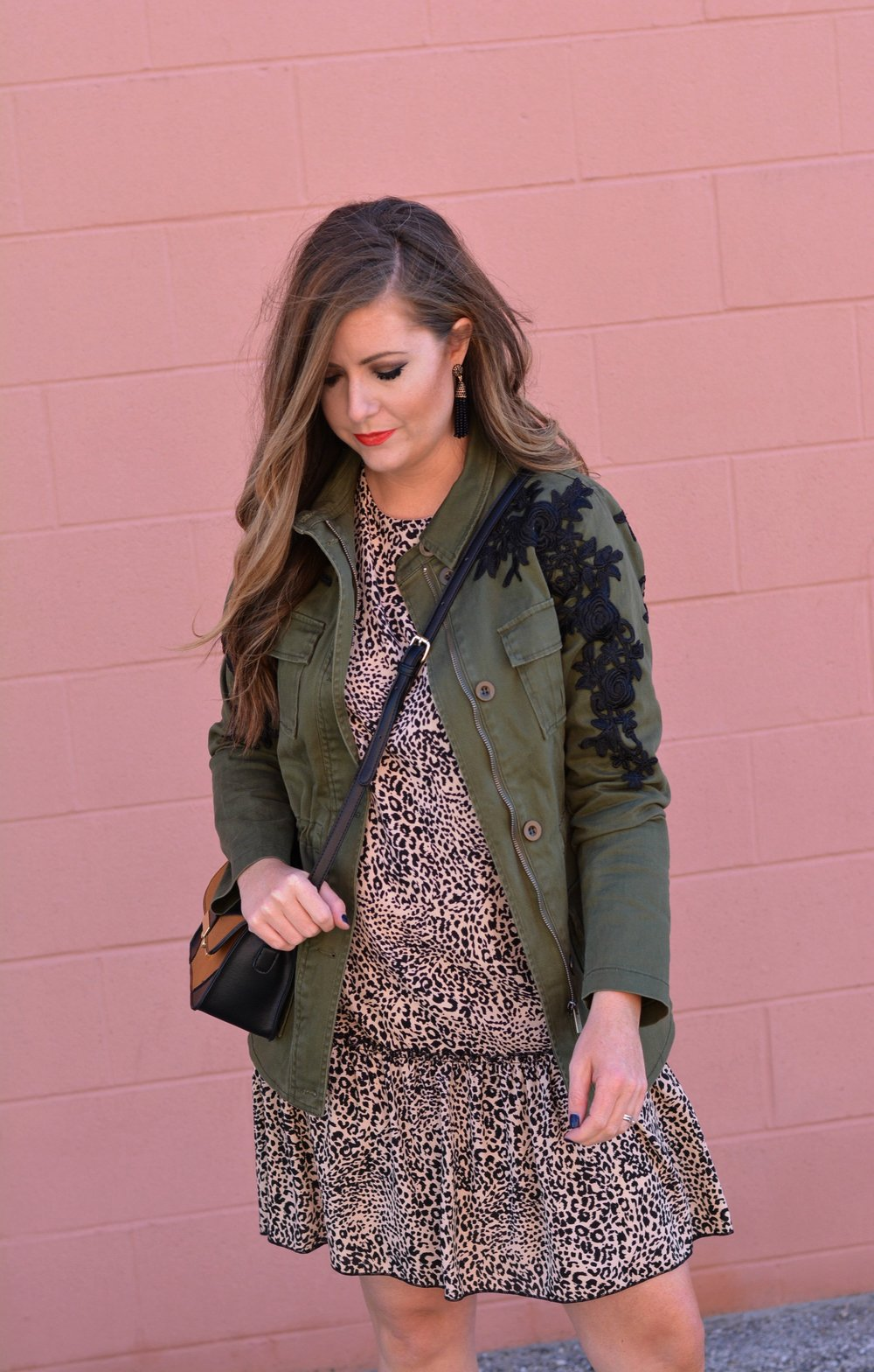 Green cargo jacket with a leopard dress for fall