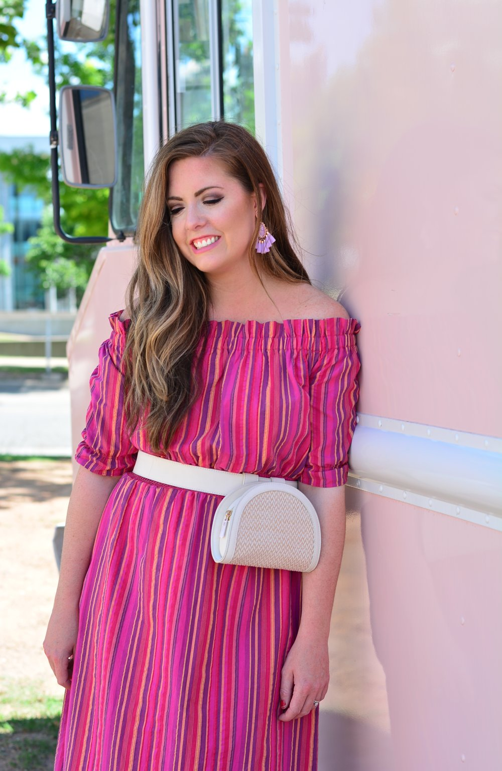 Summer Outfit idea off the shoulder dress with a belt bag