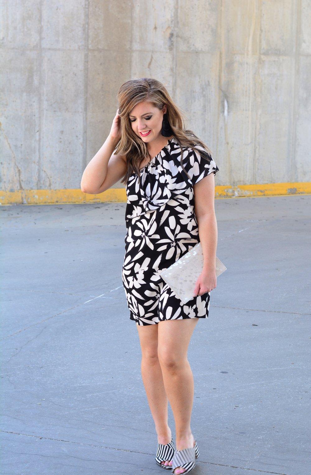 Black and white floral one shoulder dress