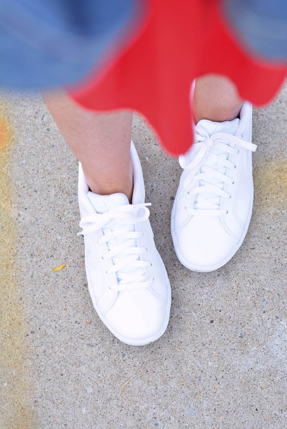 White Nike Sneakers with dresses