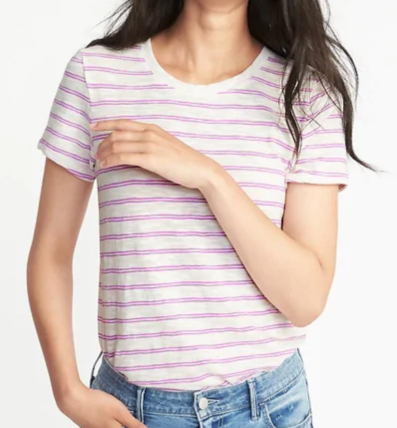 Pink stripe tee
