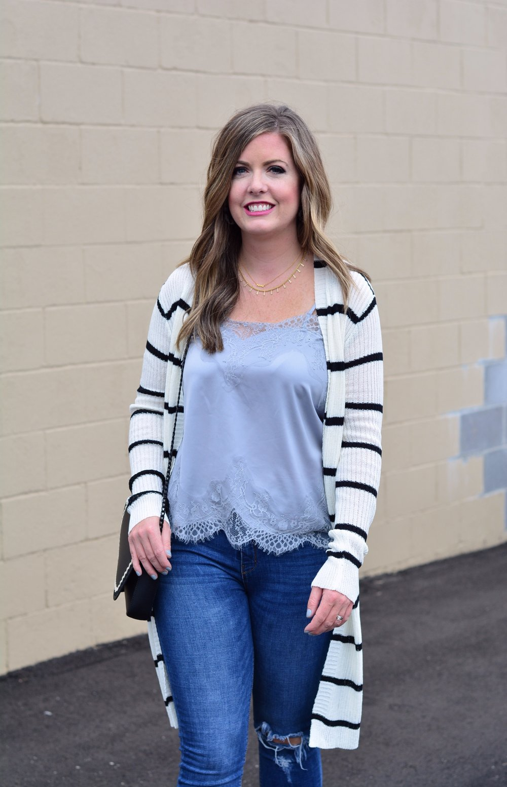 What to wear under a stripe cardigan