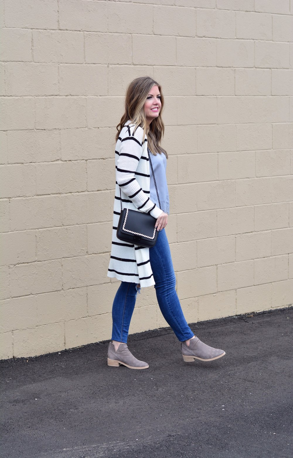 Stripe duster cardigan outfit