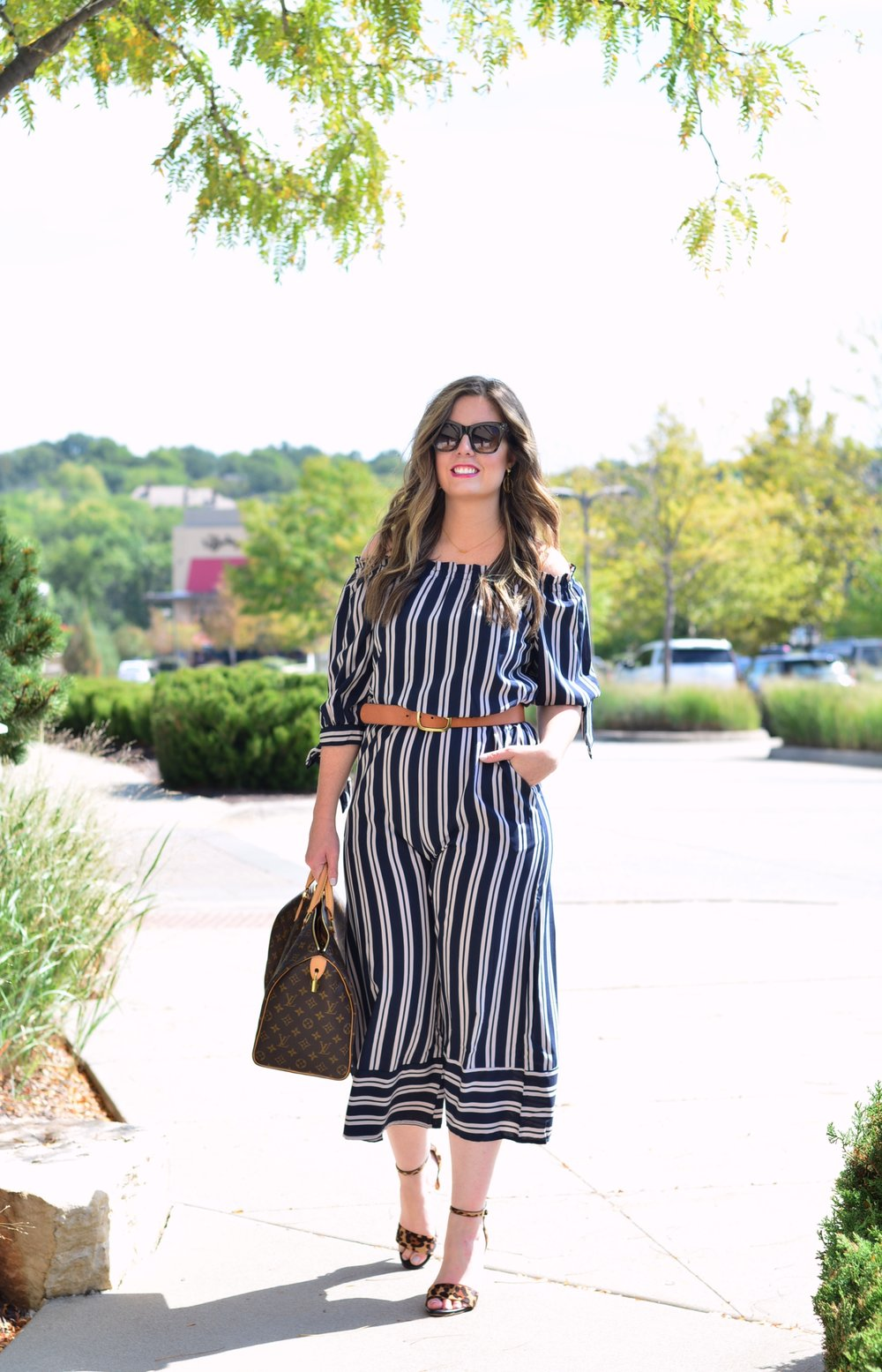Stripe jumpsuit   Fall Fashion   Sophisticaited   Cait Fore