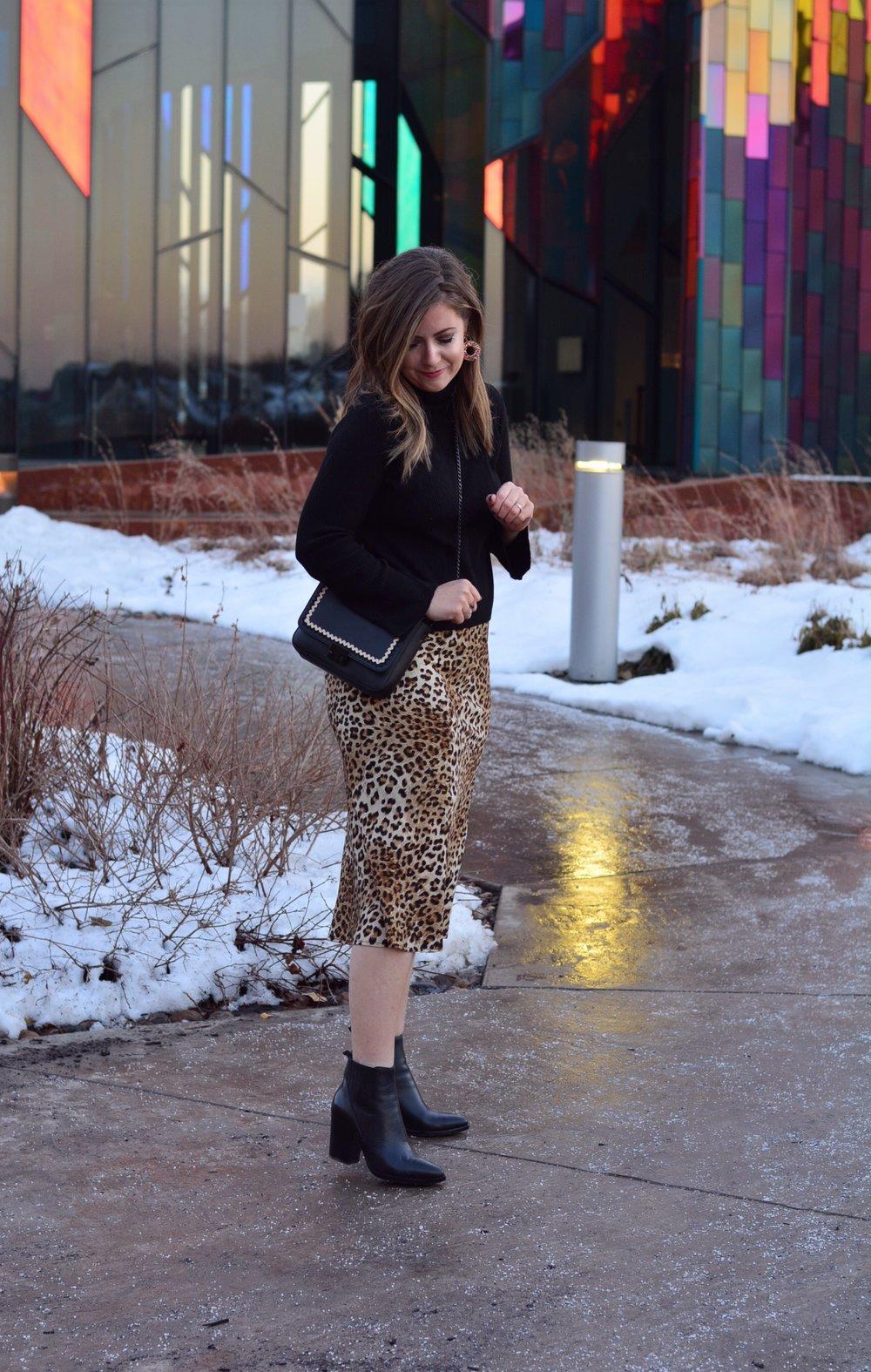 Leopard midi skirt outfit idea | Sophisticaited | Cait Fore