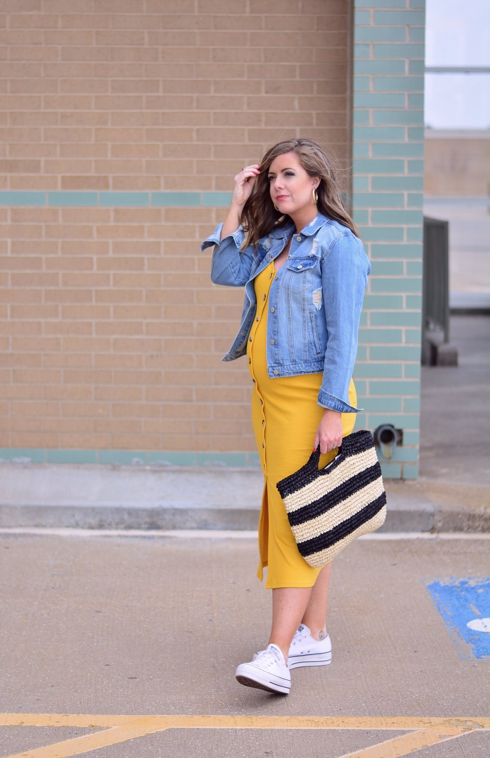 Yellow button body con dress outfit