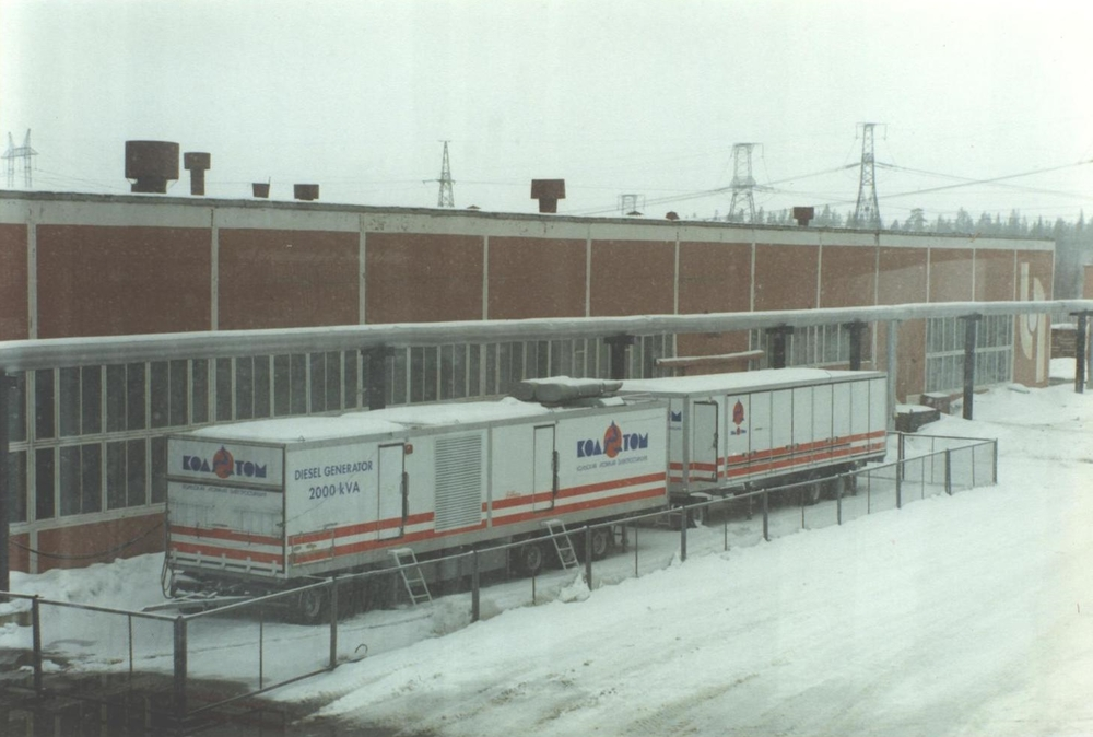 Norwegian-donated backup diesel generators parked outside the Kola Nuclear Power Plant. (JAMES FLINT)