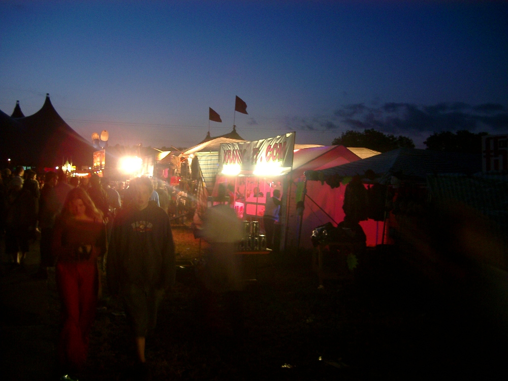Stalls at night, Glastonbury. (JAMES FLINT)