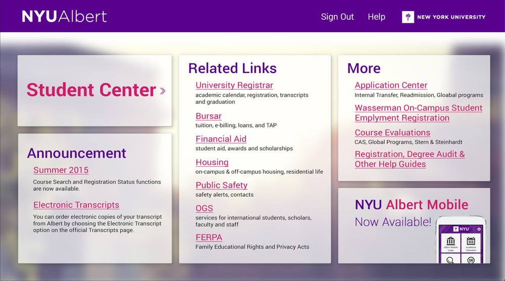 NYU Albert The Gateway To Access In NYUu0027s Student Information System. It  Can Be Used By Applicants, Faculty, Staff, And Most Importantly, Students  Who Have ...