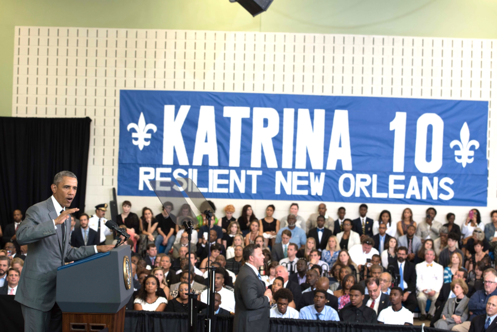 NEW ORLEANS, LA - August 27, 2015: President Barack Obama delivers a speech at the Andrew P. Sanchez Community Center in the Lower Ninth Ward of New Orleans during the 10 year Anniversary of Hurrican Katrina. (photo by Adrienne Battistella, 2015. All Rights Reserved.)