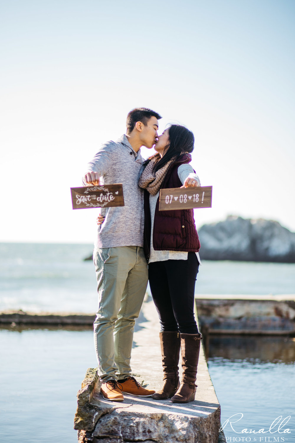 San Francisco Engagement Photography- Save the Date Sign- Lands End Wedding Photos- Ranalla Photo & Films