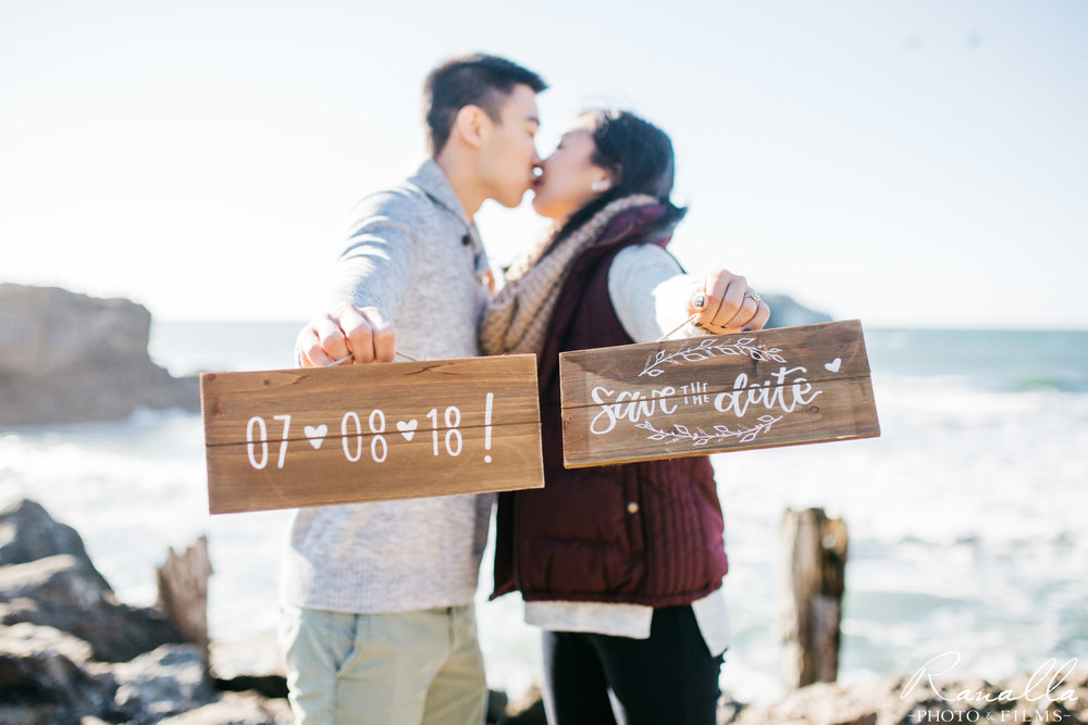 San Francisco Engagement Photography- Sutro Baths- Save the Date Sign- San Francisco Coast- Lands End Wedding Photos- Ranalla Photo & Films