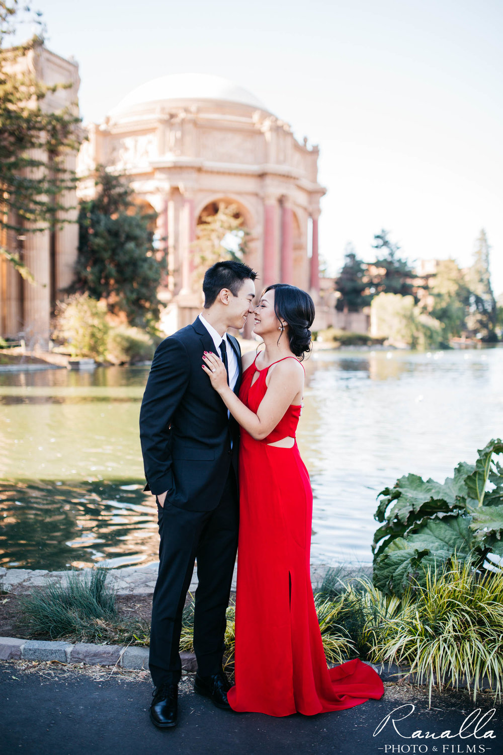 San Francisco Engagement Photography- Red Maxi Dress- Palace of Fine Arts- Wedding Photos- Ranalla Photo & Films