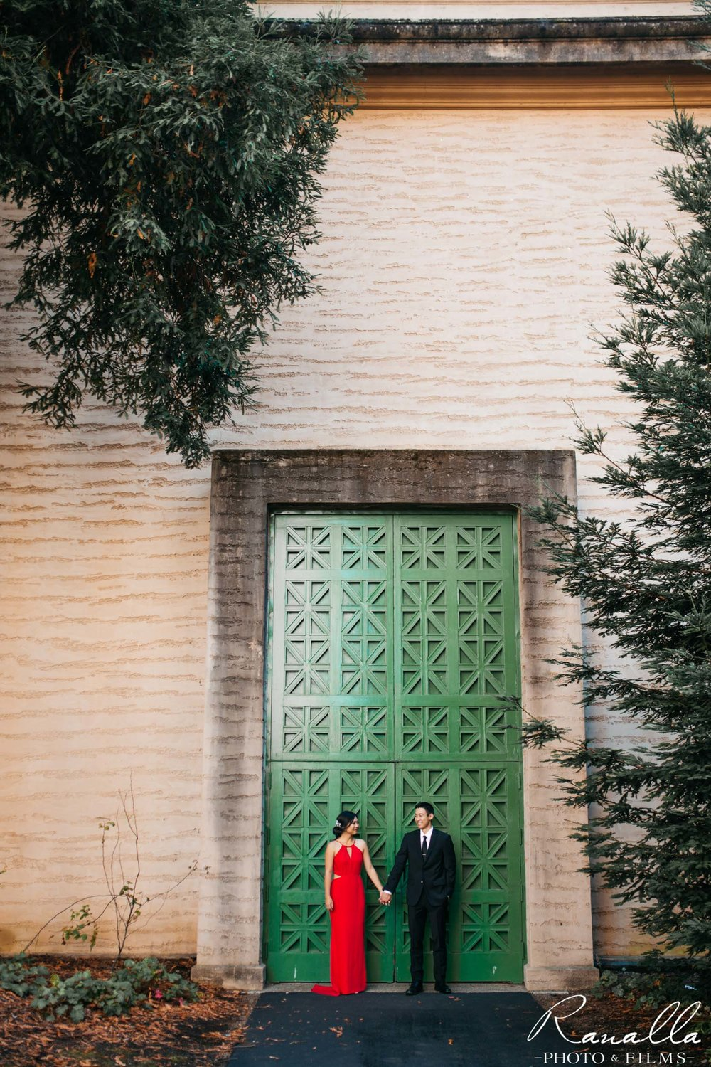 San Francisco Engagement Photography- Red Maxi Dress- Big Green Door- Palace of Fine Arts- Wedding Photos- Ranalla Photo & Films