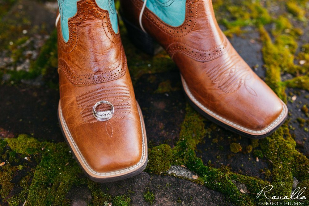 Chico Wedding Photography-Cowgirl Boots & Wedding Ring- Patrick Ranch Wedding Photos- Ranalla Photo & Films