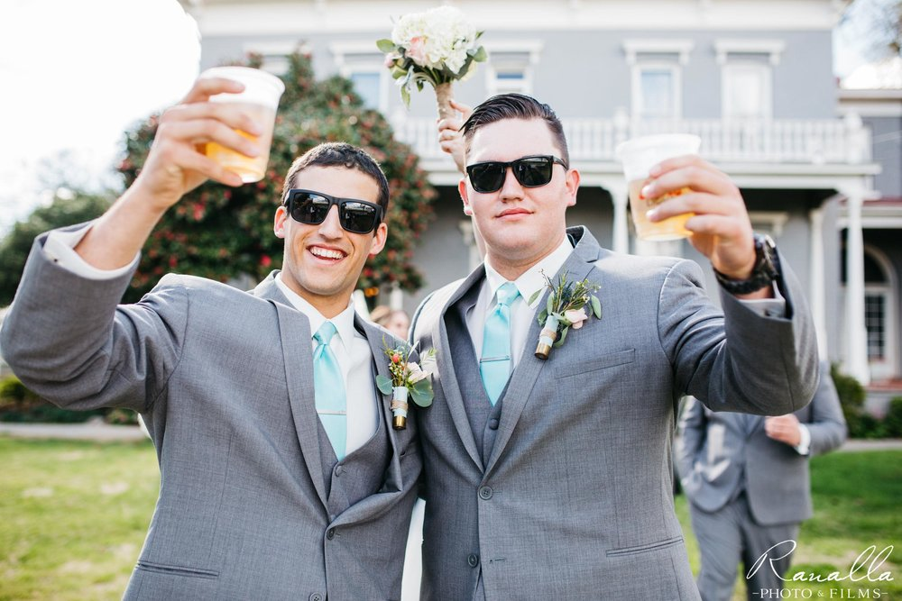 Chico Wedding Photography- Groomsmen Holding Beer- Patrick Ranch Wedding Photos- Ranalla Photo & Films