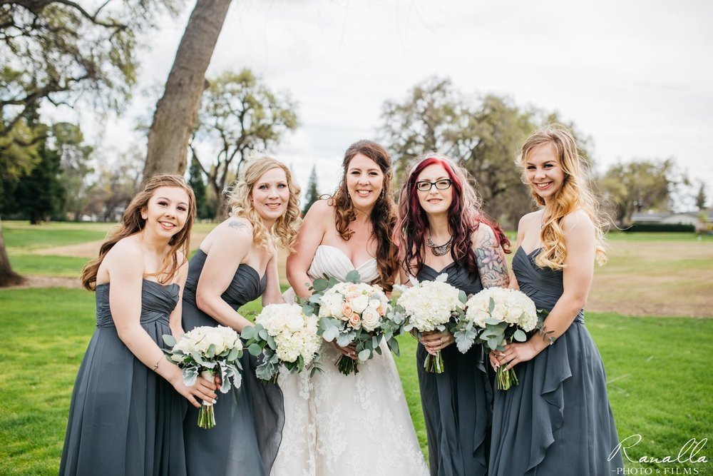 Chico Wedding Photography- Bridal Party- Grey Bridesmaids Dresses- Butte Creek Country Club- Simply Elegant Bridal- Lavender Blue- Ranalla Photo & Films