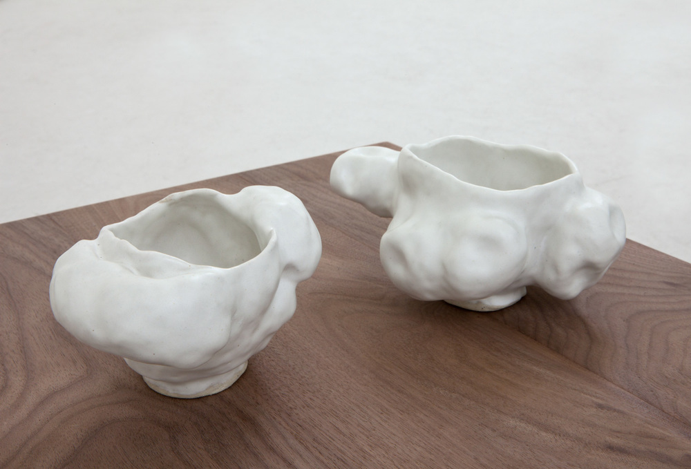"Sasha Bergstrom-Katz,   ""  Cups   from Conversations: Eat shit,"" 2014   Glazed ceramic,   Two parts: 3 1/2 x 7 x 5 1/2 inches; 3 1/2 x 5 3/8 x 4 1/2 inches"