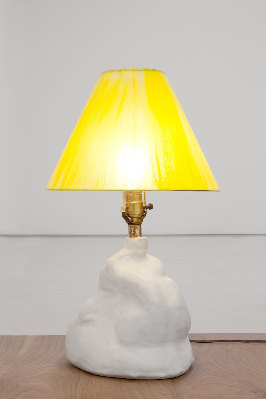 "Sasha Bergstrom-Katz and Sam Kahn,  ""Untitled (Lamp)"", 2014   Glazed ceramic, , hardware, light bulb,  21 1/2 x 14 inches"