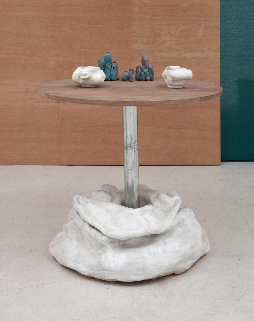 "Sasha Bergstrom-Katz and Sam Kahn,  ""Table from Conversations: Eat shit,"" 2104   Glazed ceramic, walnut, galvanized steel,  28 3/4 x 29 (diameter) inches"