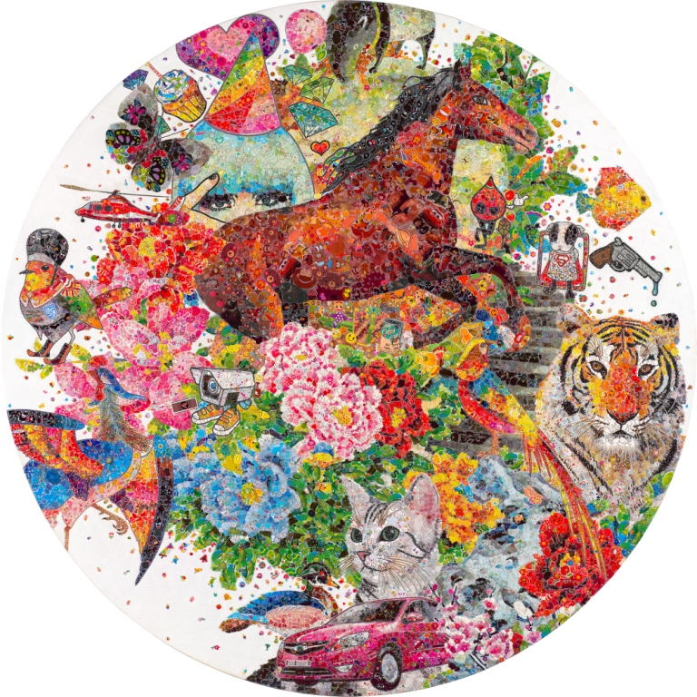 Ye Hongxing Another Space No.5 Crystal Sticker Collage on Canvas150cm(diameter).jpg