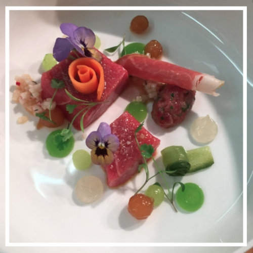 Irish Blue fin Tuna Belly, Parma Ham, Cucumber, Daikon, Ginger